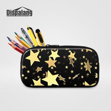 Dispalang Kids Mini Pencil Case Box Pen Bags For School Gold Stars Printing Women Cosmetic Case Children Stationery Pouch Office