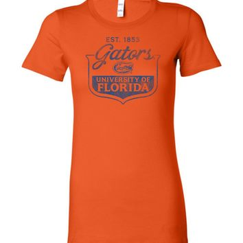 Official NCAA University of Florida Gators The Orange and Blue GATOR NATION! Ladies Tee - 07uf-1