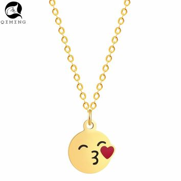 QIMING Valentine's Day Emoji Pendant Friendship Necklace Women Love Kiss Heart Fashion Jewelry Long Necklace Baby Gift