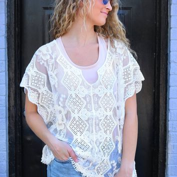Embroidered Lace Boxy Top - Ivory by POL Clothing