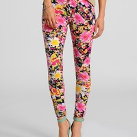 Pink Flower Boom Printed Leggings | $8.50 | Cheap Trendy Leggings Chic Discount Fashion for Women |