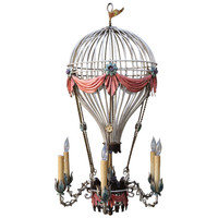 Italian Painted Metal Balloon Chandelier