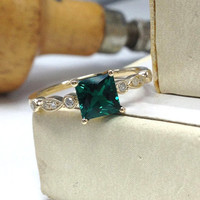 Emerald Engagement Ring 14K Yellow Gold!Diamond Wedding Bridal Ring,Art Deco,6mm Princess Cut Treated Green Emerald,Can make Matching Band