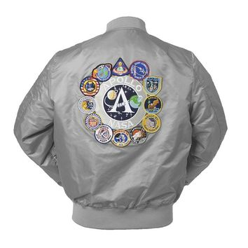 Trendy 2018 New Autumn Apollo Thin 100th SPACE SHUTTLE MISSION Thin MA1 Bomber Hiphop US Air Force Pilot Flight College Jacket For Men AT_94_13