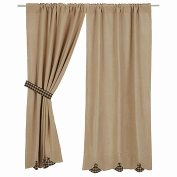 Burlap with Black Check Short Panel Curtains