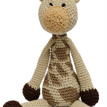 Cream-Brown Giraffe Handmade Amigurumi Stuffed Toy Knit Crochet Doll VAC
