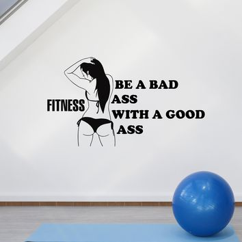 Vinyl Wall Decal Fitness Girl Sports Motivation Phrase for Ladyfriend Stickers Mural (ig5259)