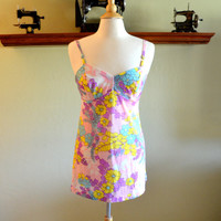 Gorgeous Vintage Chemise by Henson Kickernick, Pink Floral Nylon Teddy or Nightie, Bust Size 34, circa 1960s - 1970s