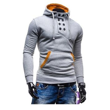 Zogaa Geek Autumn and Winter Men's Hoodie Fashion Pure Color Add Wool Sports Casual Thick Coat XS-4XL Solid Men Hooded Suit