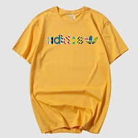 Adidas New fashion letter people hook print couple top t-shirt Yellow