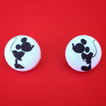"Handmade ""Silhouette Mouse Love"" Vintage Minnie and Mickey Inspired Silhouette Fabric Covered Button Earrings"
