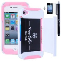 Rugged High Impact Credit Card Holder Wallet Soft + Hard Hybrid Combo Case Cover for Apple iPhone 4 4S + Stylus + Screen Protector - White & Pink