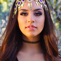 Amethyst Gold Jeweled Gypsy Crown - Purple