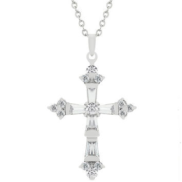 Brilliant Cubic Zirconia Cross Pendant