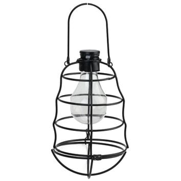 "7.75"" Black Rippled Solar Powered LED Decorative Outdoor Metal Patio Lantern"
