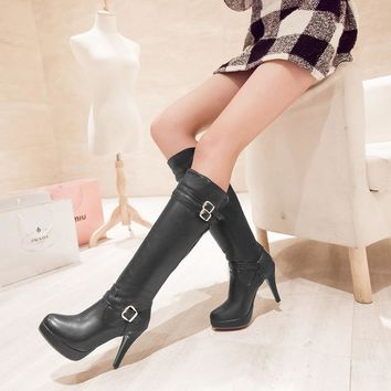On Sale Hot Deal Plus Size Shoes Winter High Heel Sexy Knee-length Boots [120849334297]