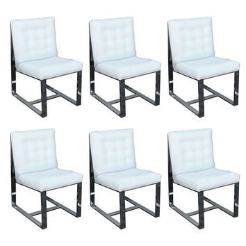 Pre-owned Heavy Steel Milo Baughman Dining Chairs - Set of 6