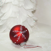 Let it Snow, Simplistic Textured Snowflakes with Rhinestones that Sparkle, On A Red Frosted Christmas Ornament, For Your Tree or as a Gift