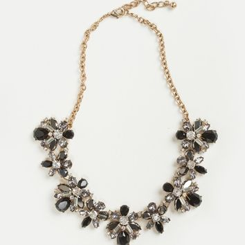 Carissa Black Crystal Statement Necklace