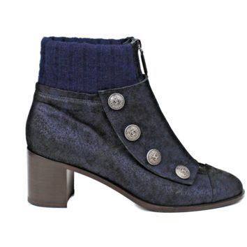 Chanel Button-Up Sock Ankle Boots