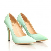 Missguided - Tonia Leather Court Heels In Mint