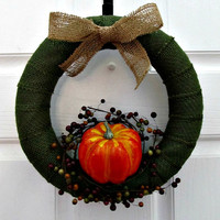 Green Burlap Wrapped Wreath with Pumpkin and Fall Berries - Thanksgiving Wreath, Fall Wreath, Pumpkin Wreath, Fall Home Decor