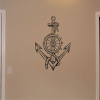 Ships Wheel with Roped Anchor wall decal