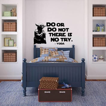 Star Wars Wall Decal Yoda Quotes Do Or Do Not There Is No Try- Master Yoda Wall Decal Inspirational Quote for Kids Room Nursery Decor K166