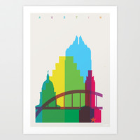 Shapes of Austin. Accurate to scale. Art Print by Yoni Alter