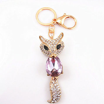Fox keychain, Studded Rhinestones Keychain, Amethyst keychain,Diamond Fox Keychain-- friendship gift, the best gift choice trend accessories