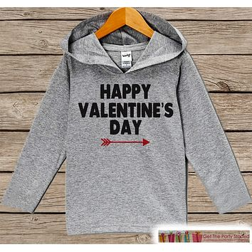 Kids Valentines Day Outfit - Girl or Boy Hoodie - Happy Valentine Pullover - Red Arrow Valentine's Day Outfit - Baby, Kids, Toddler Hoodie