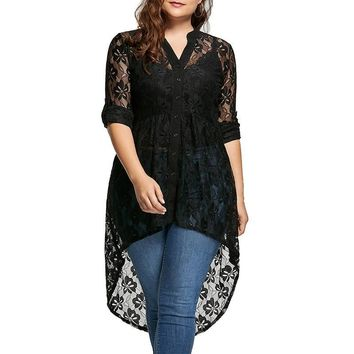 Peplum Long Sleeve High Low Lace Shirts Tunic Through Button Up Plus Size Tops