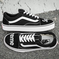 Vans x Supreme Old Skool Canvas Flats Sneakers Sport Shoes Black G-CSXY