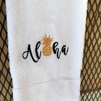 Tropical Hand Towel, Embroidered Pineapple, Aloha, Hawaiian Themed Bathroom, Beach Decor, Housewarming Gift, Destination Wedding