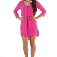 Make Me Feel Like Home Dress: Hot Pink