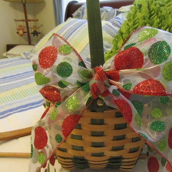 Lovely Round Natural and Green Woven Festive Basket With Bold Red and Green Polka Dot Bow