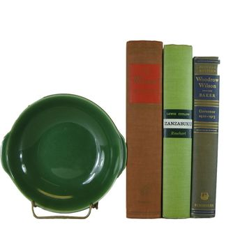 Vintage Decorative Book Accent Set in Green and Earth-tone