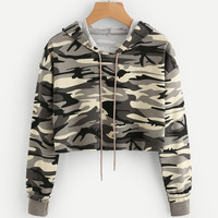 Drop Shoulder Crop Camo Hoodie -SheIn(Sheinside)