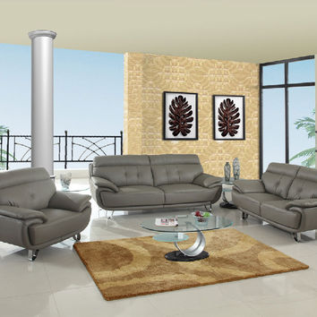 Global United A159GR-2PC 2 pc Shirley collection modern style gray genuine leather upholstered sofa and love seat set