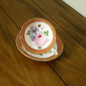 Antique Paragon floral transfer teacup and saucer, Paragon rose tea cup, orange and gold, paragon bone china