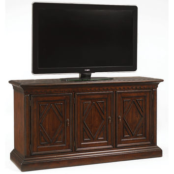 "Sundance 66"" TV Stand Entertainment Console Distressed Brown Mahogany"