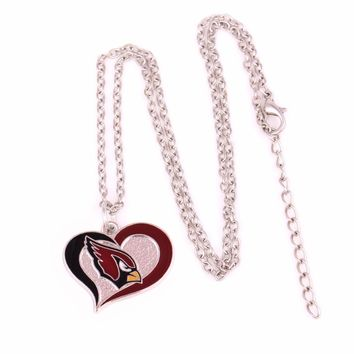 Enamel single-sided Arizona Cardinals Swirl Heart Football team logo charm with link chain sport Necklace Drop shipping