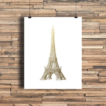 Eiffel Tower Faux Gold Foil Art Print- Minimalist - Home Office Bathroom Decor - Housewarming Gift - College Dorm Room - Paris France - Love