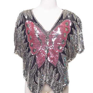1970s vintage GUNIT Silk, sequined butterfly shirt. Disco, deco blouse Silver Sz. M