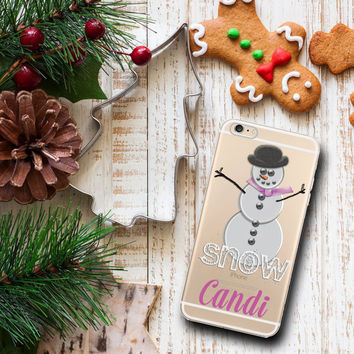 Tween Iphone 6 case clear, Winter Iphone 6 Plus case clear, Christmas stocking stuffer under 25 for kids, Snowman with pink (1600)