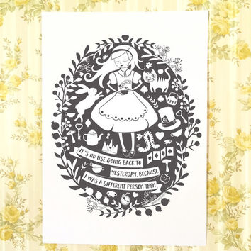 Alice in Wonderland Print Poster, Alice's Adventures in Wonderland, Cheshire Cat, monochrome print, white rabbit, Queen of hearts