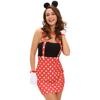Dot Print Sleeveless Red Halloween Costume Dress with Gloves, Choker and Hairpin