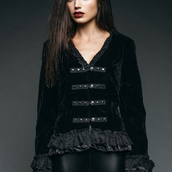 Velvet Royalty Black Tail Jacket with Back Lacing