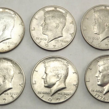 The Kennedy Collection, Set of 6 Coins - 1967 1971 1972 1973 1974 & 1976 Bicentenial JFK Silver Half Dollars Circulated