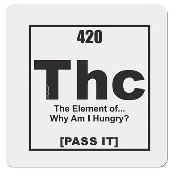 "420 Element THC Funny Stoner 4x4"" Square Sticker by TooLoud"